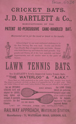 Advert For J. D. Bartlett & Co. Manufacturers Of Cricket Bats